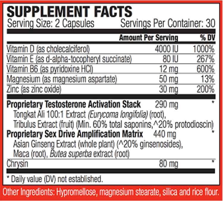 Spartagen XT Supplement Facts