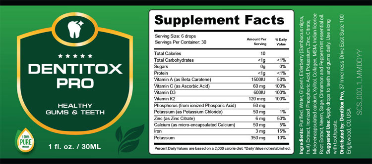 Dentitox Pro Supplement Facts