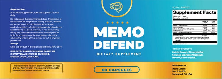 MemoDefend Supplement Facts