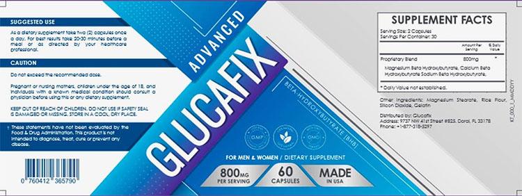 GlucaFix Supplement Facts