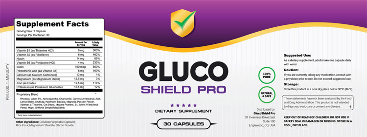 Gluco-Shield-Pro-Supplement-Facts