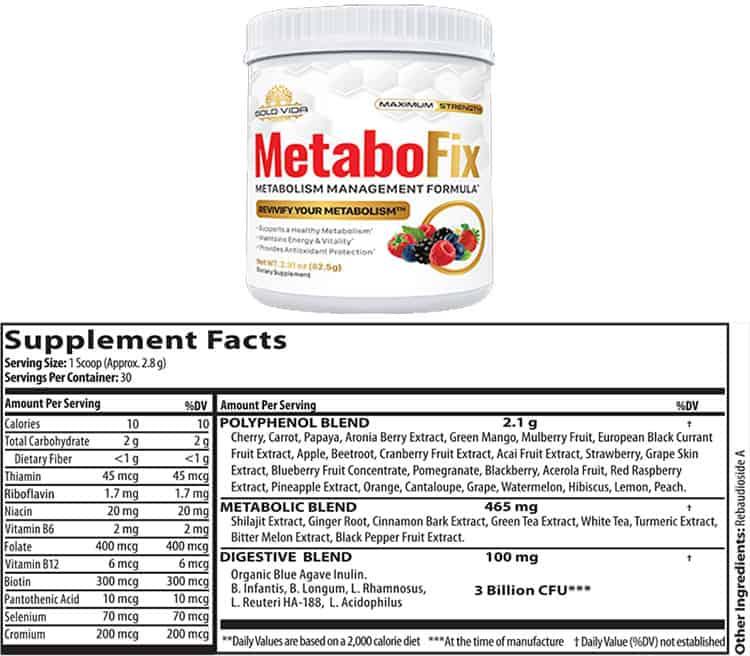 MetaboFix Powder Supplement Facts