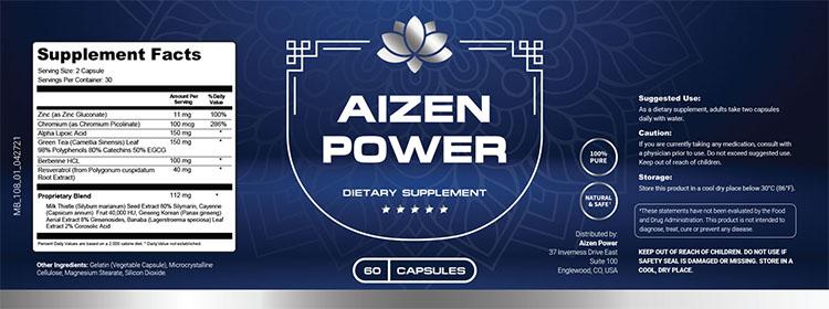 Aizen Power Supplement Facts