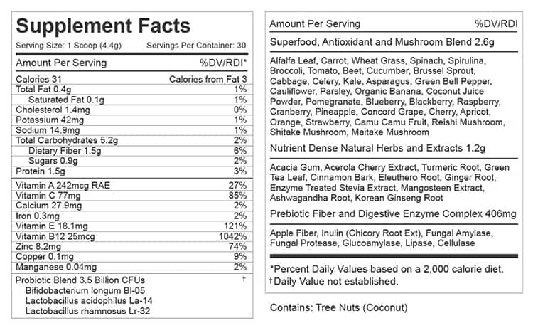 Daily Greens Supplement Facts