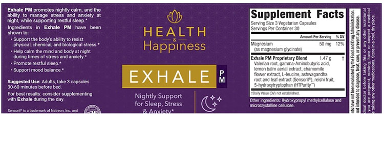 Exhale PM Supplement Facts