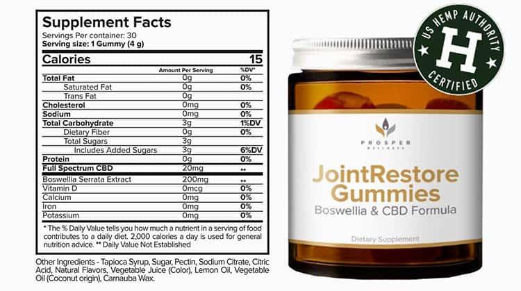 Joint Restore Gummies Supplement Facts