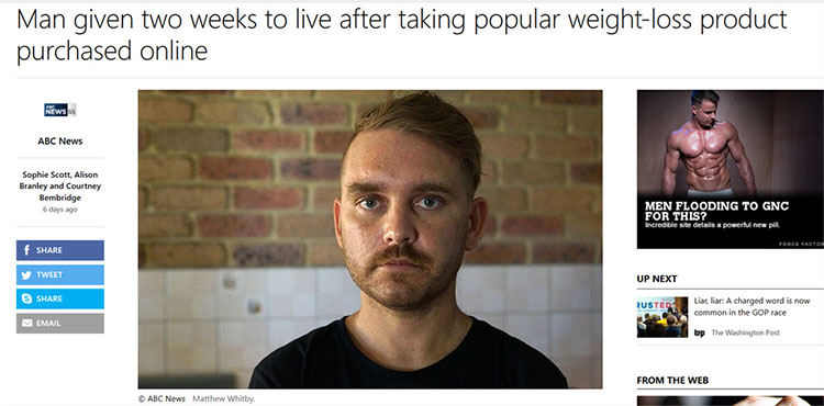 Man given two weeks to live after taking popular weight-loss product