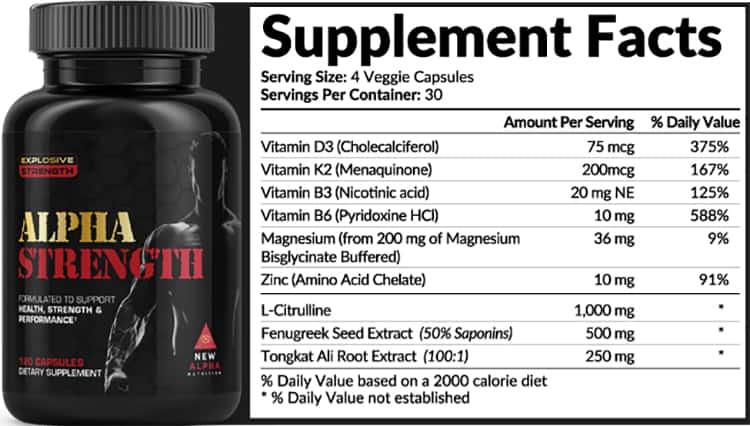 Alpha Strength Supplement Facts