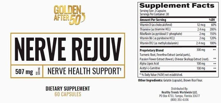 Nerve Rejuv Supplement Facts